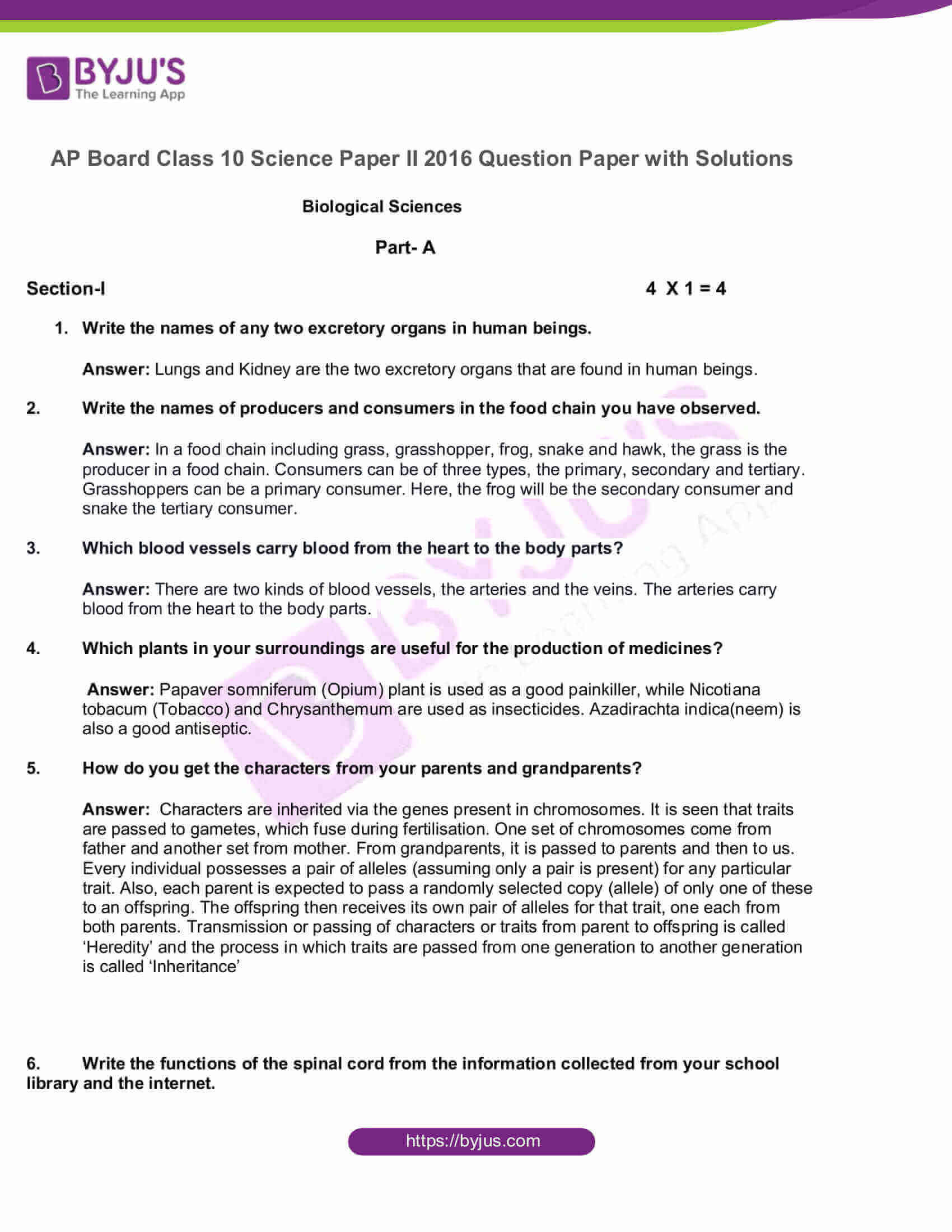 AP Board Class 10 Science Paper 2 2016 Question Paper with Solutions 1