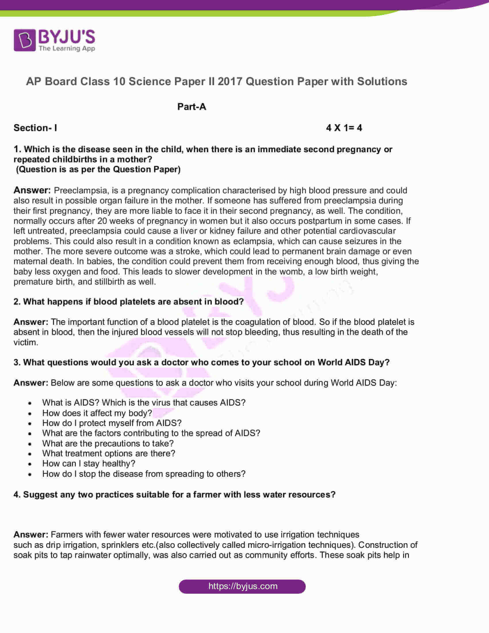 AP Board Class 10 Science Paper 2 2017 Question Paper with Solutions 01