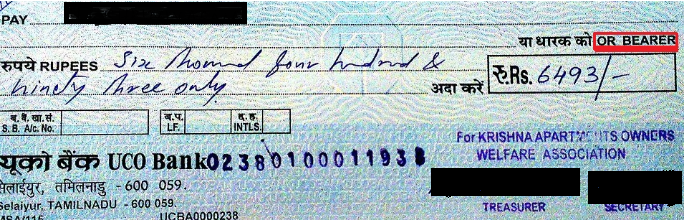Types of Cheque - Bearer Cheque