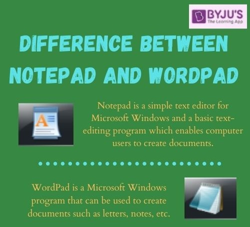 Difference Between Notepad and WordPad