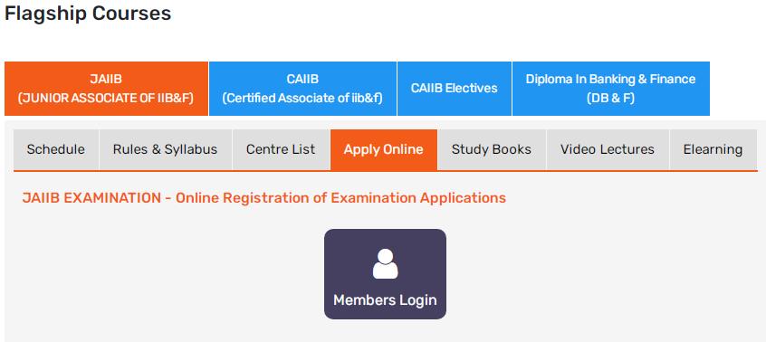 JAIIB Online Application Form