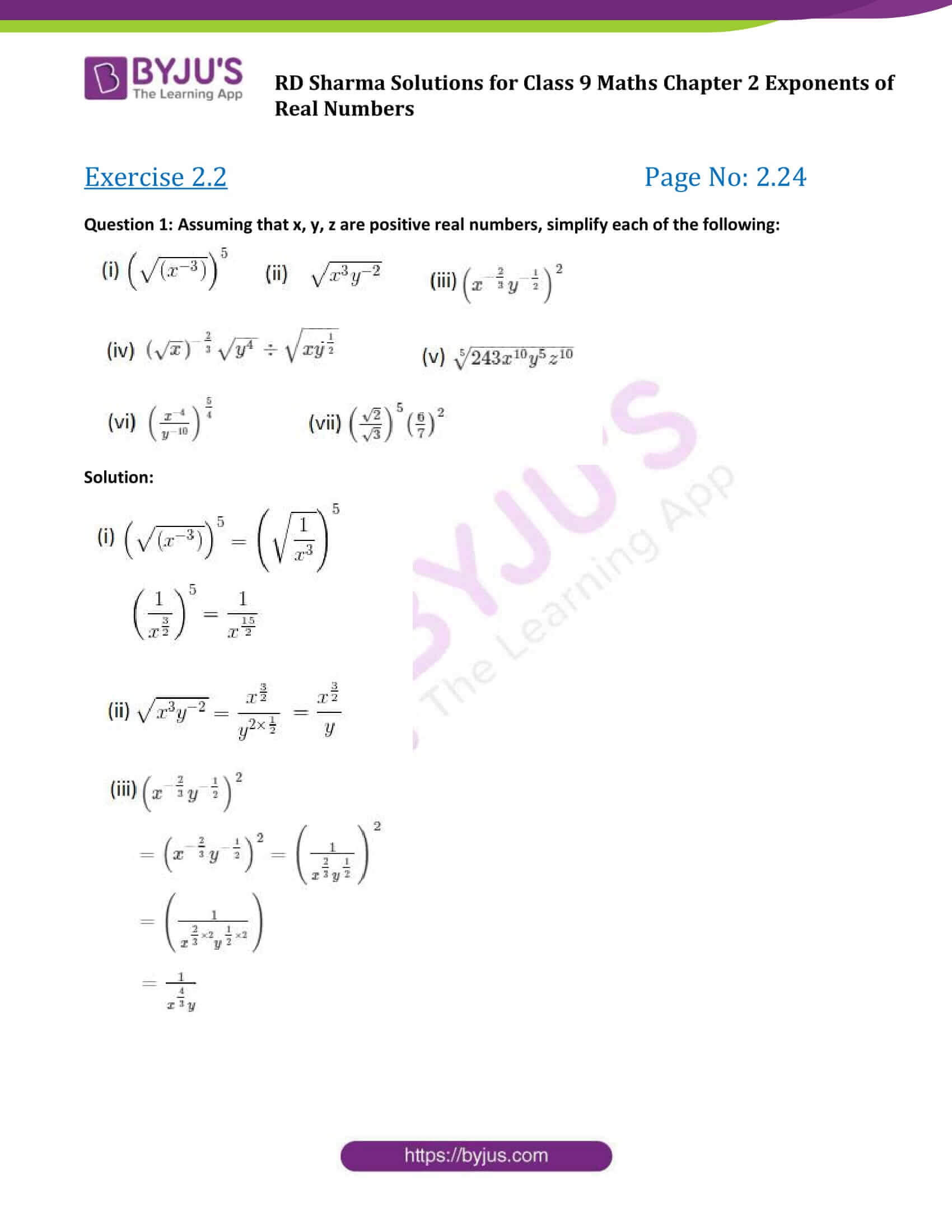 RD Sharma Solution class 9 Maths Chapter 2 Exponents of Real Numbers 09