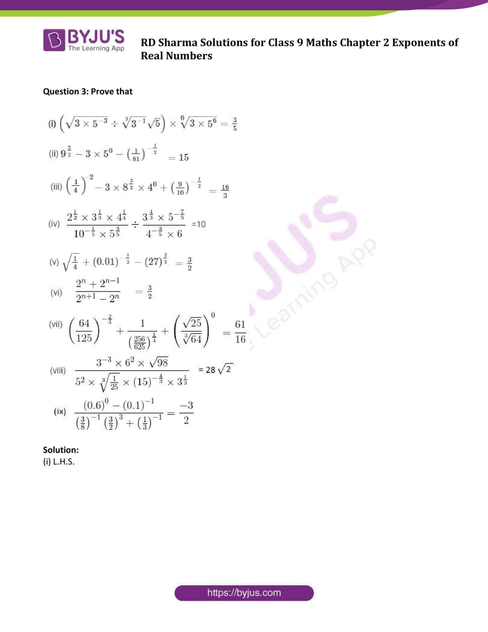 RD Sharma Solution class 9 Maths Chapter 2 Exponents of Real Numbers 14