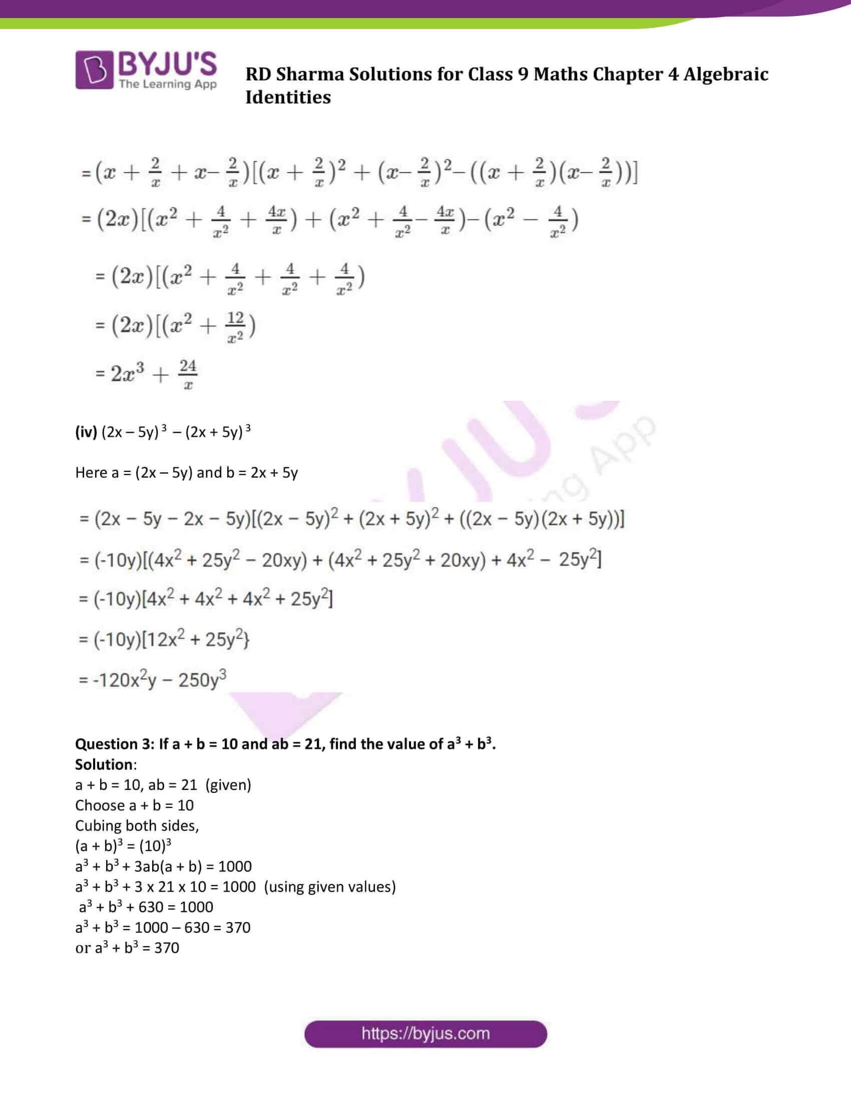 RD Sharma Solution class 9 Maths Chapter 4 Algebraic Identities 13