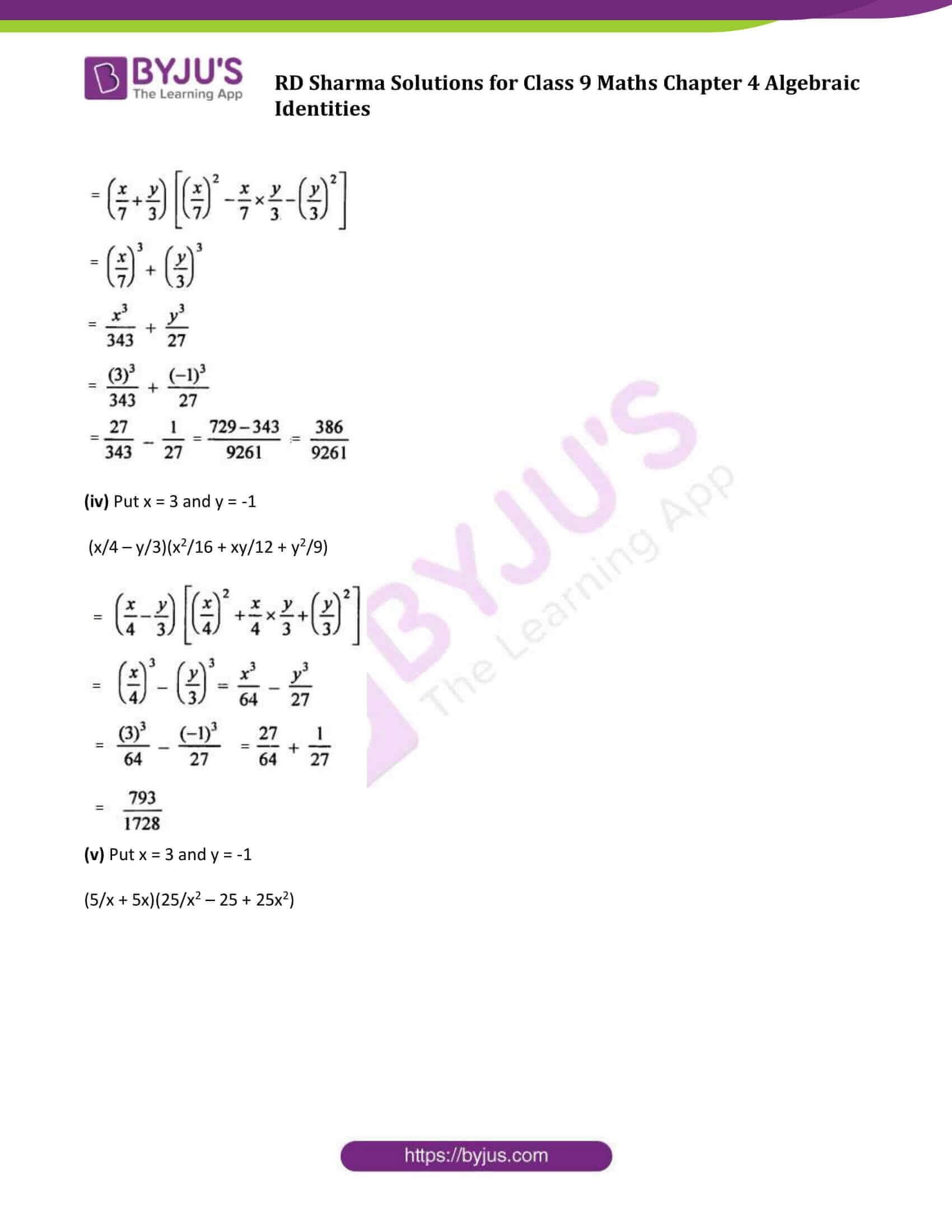 RD Sharma Solution class 9 Maths Chapter 4 Algebraic Identities 23