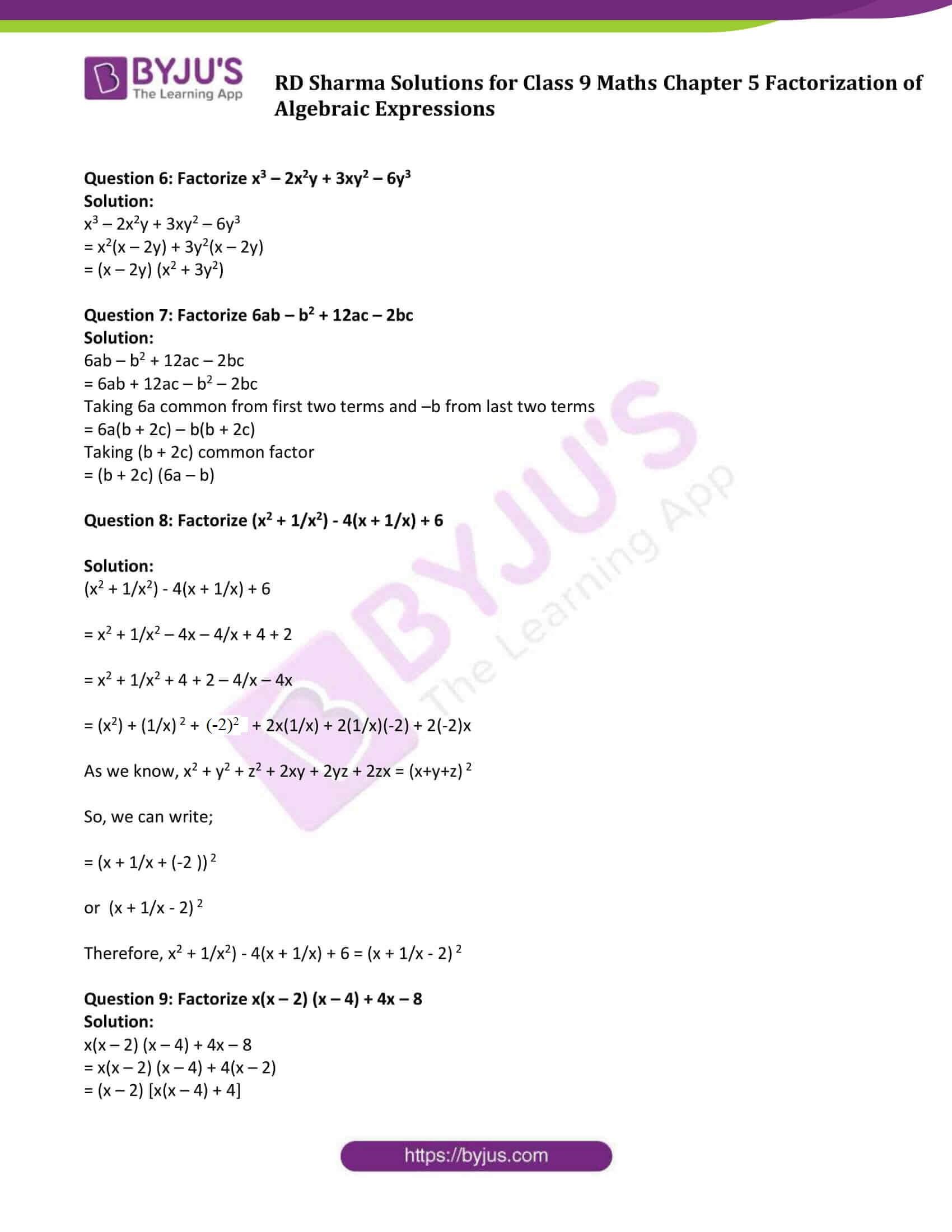 RD Sharma Solution class 9 Maths Chapter 5 02