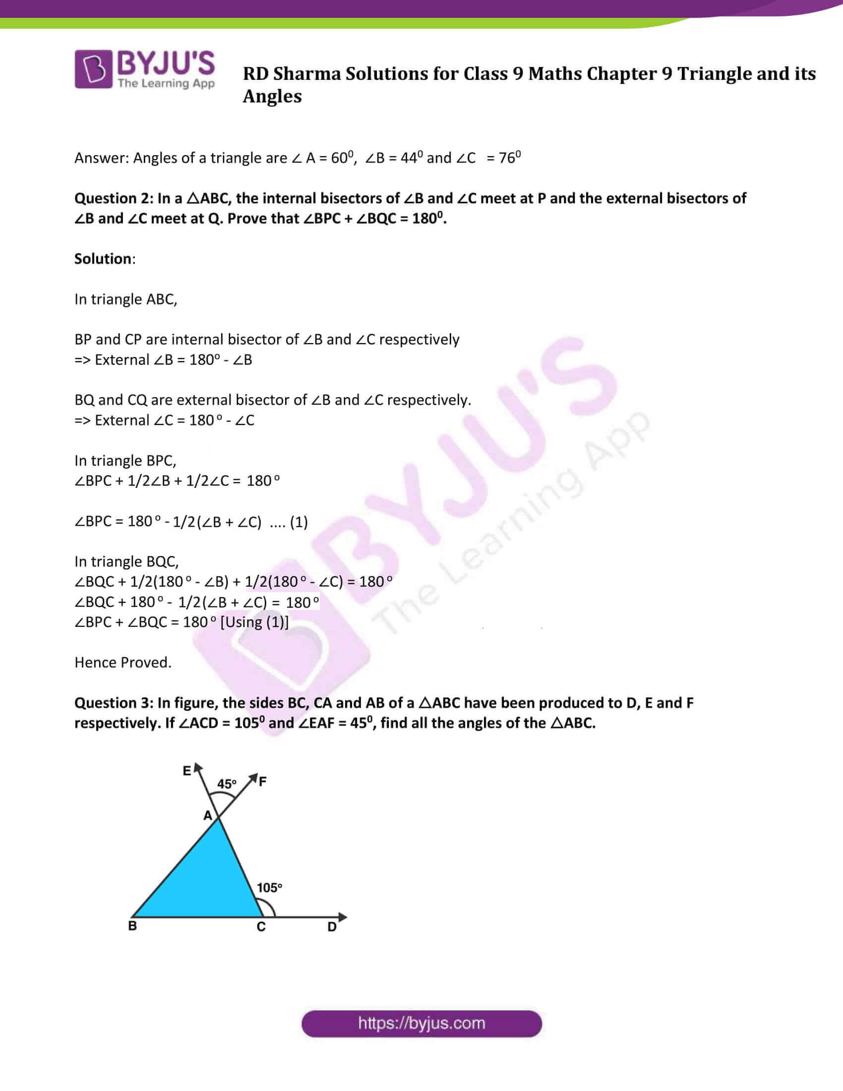 RD Sharma Solution class 9 Maths Chapter 9 Triangle and its Angles 06