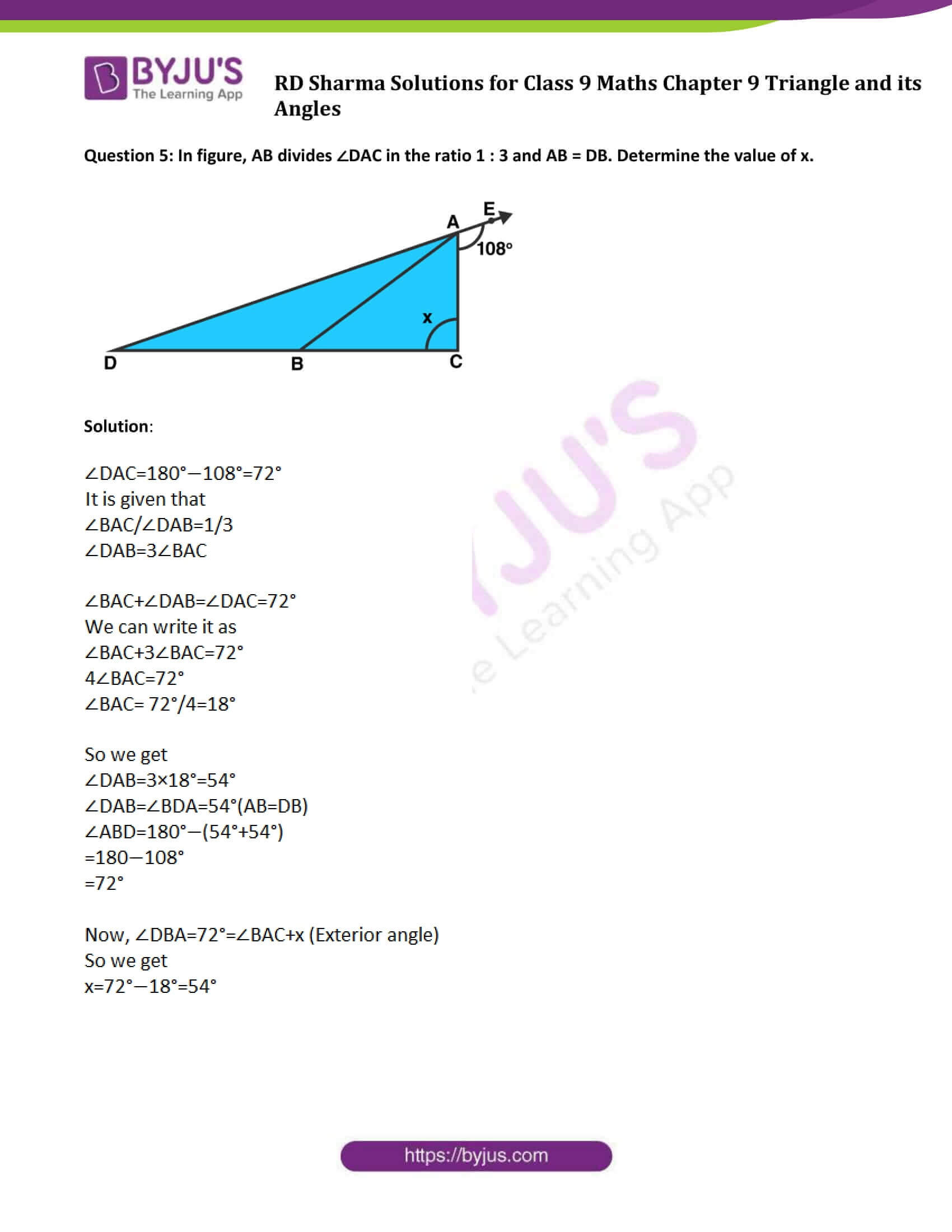 RD Sharma Solution class 9 Maths Chapter 9 Triangle and its Angles 10