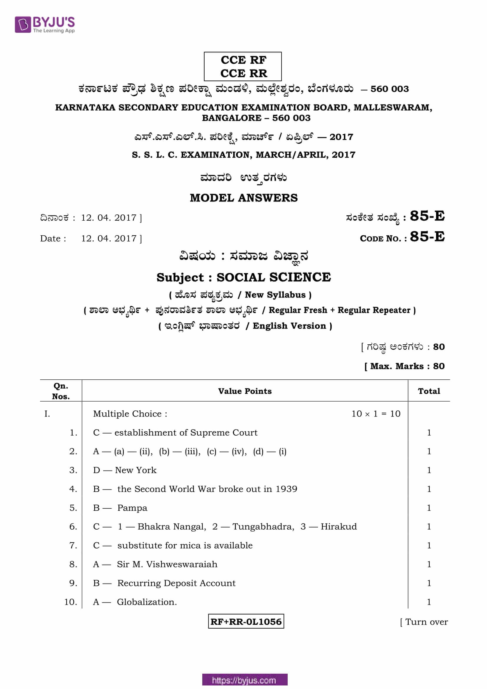 kseeb class 10 previous year social science solutions 2017 01