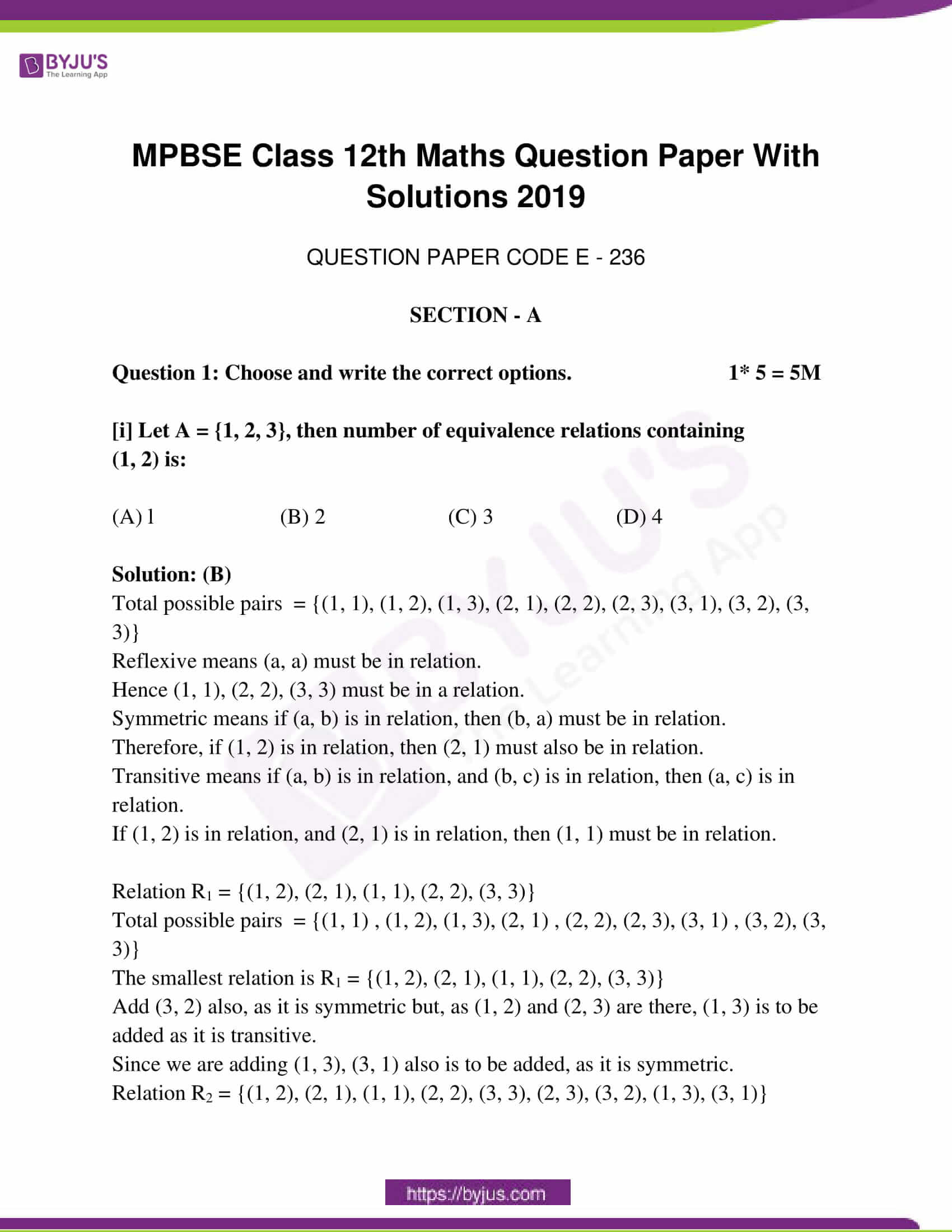 mp board class 12 questions and answers maths 2019 01