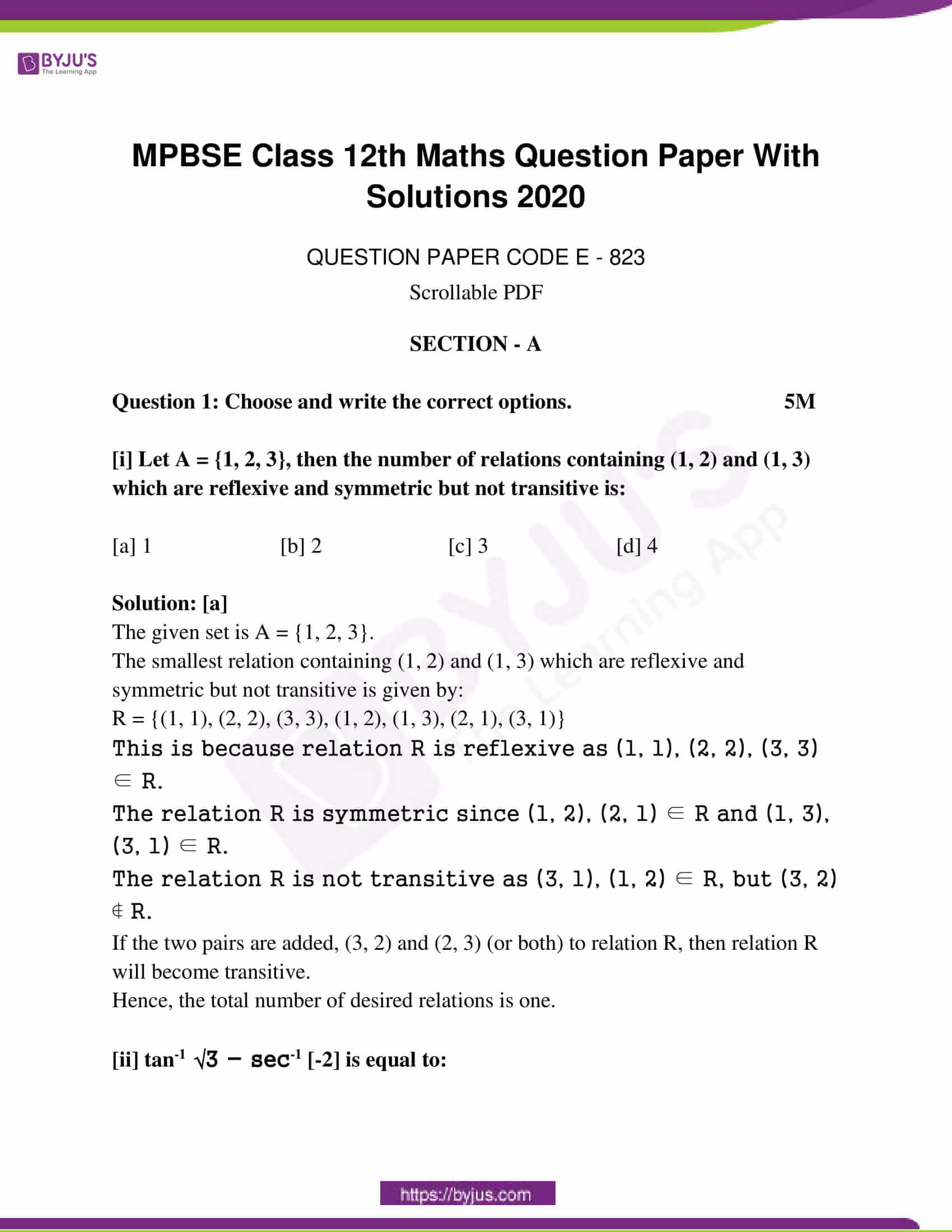 mp board class 12 questions and answers maths 2020 01