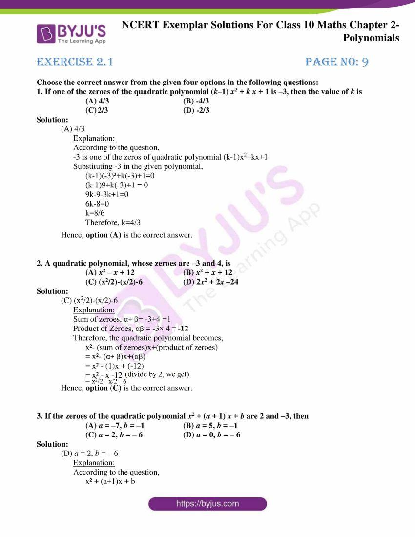 ncert exemplar for class 10 maths chapter 2