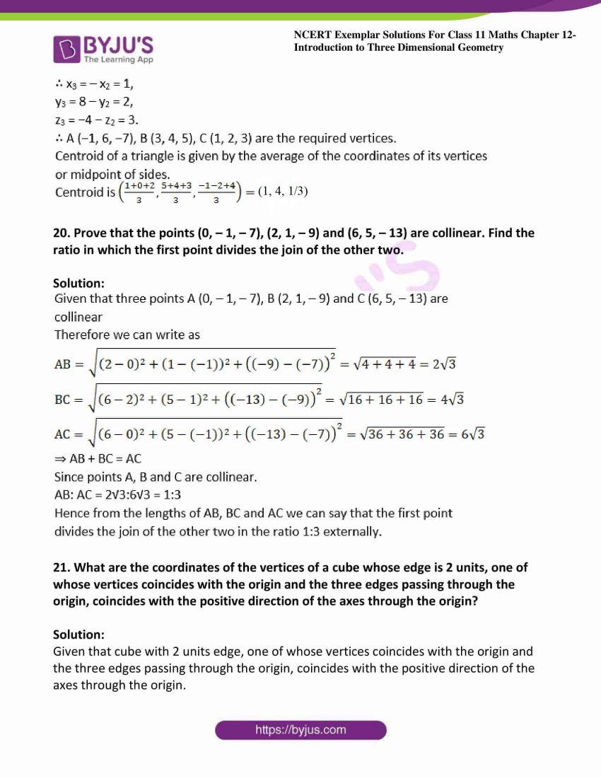 ncert exemplar sol class 11 maths chpt 12 three dimensional 11