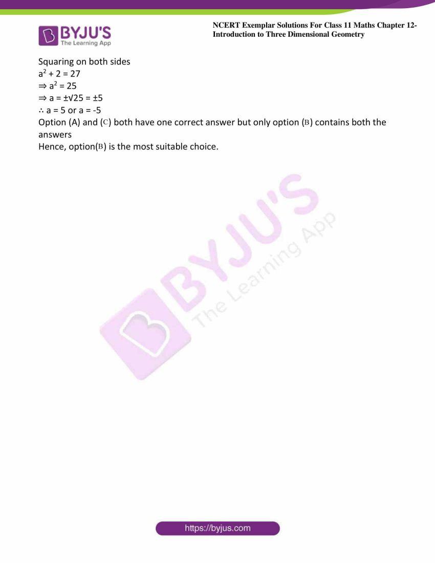 ncert exemplar sol class 11 maths chpt 12 three dimensional 14