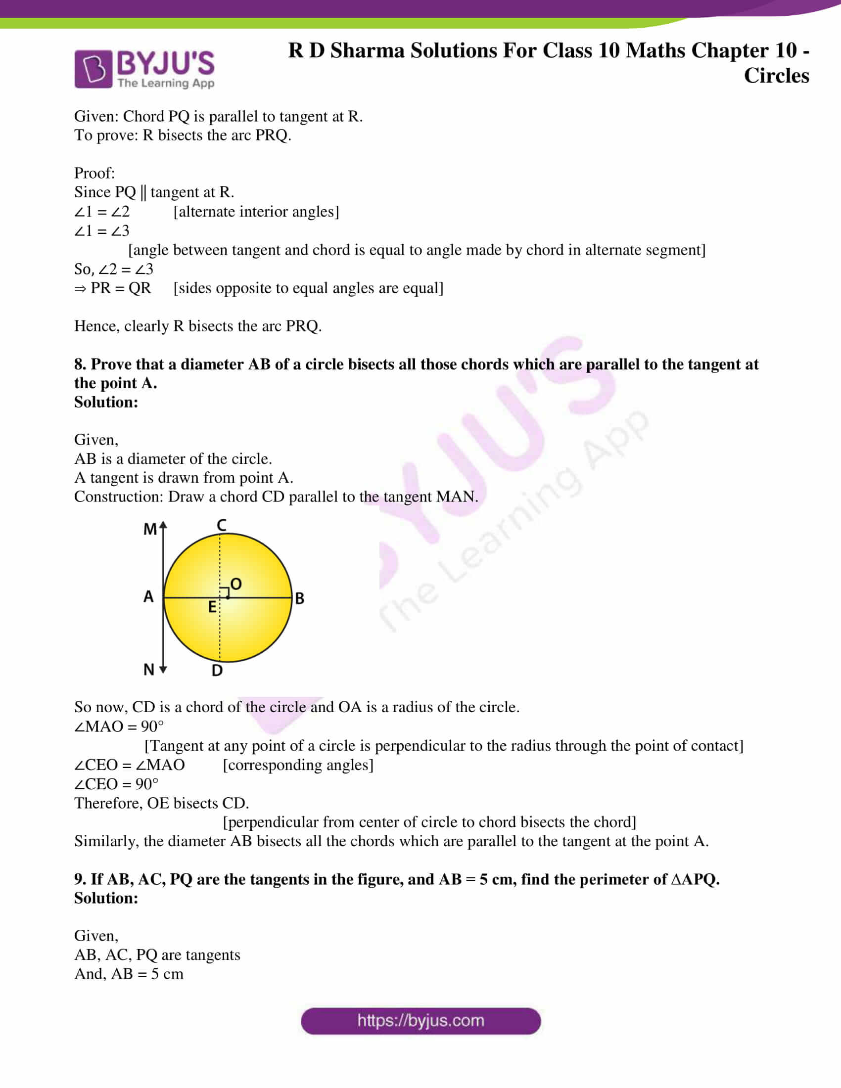 rd sharma class 10 chapter 10 circles solutions exercise 2 05