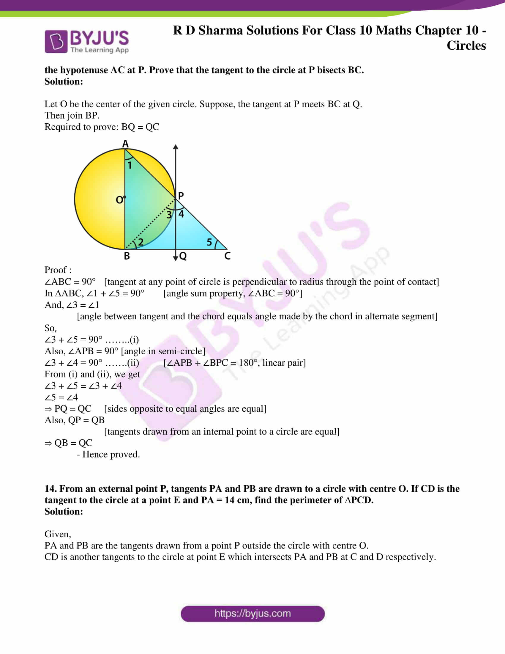 rd sharma class 10 chapter 10 circles solutions exercise 2 09