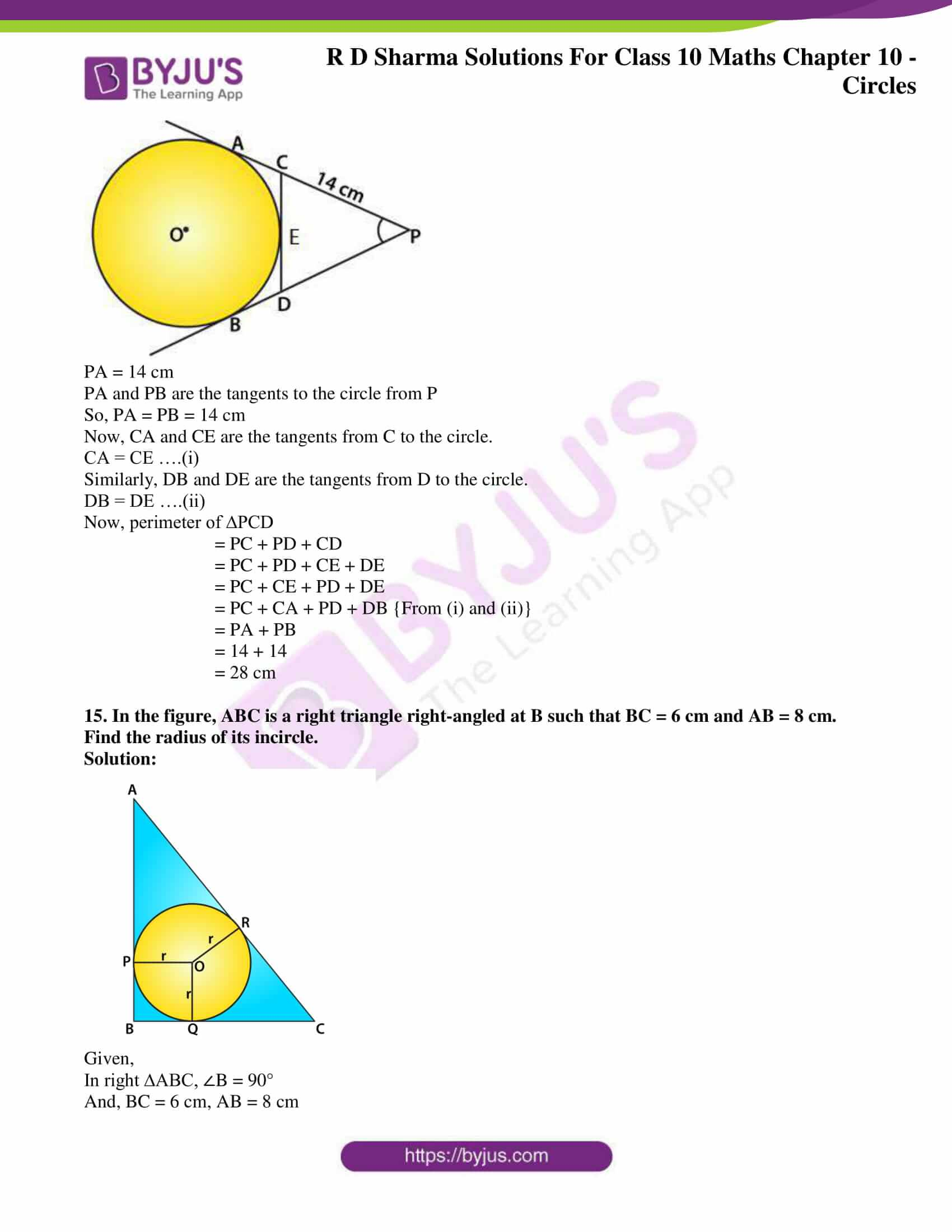 rd sharma class 10 chapter 10 circles solutions exercise 2 10