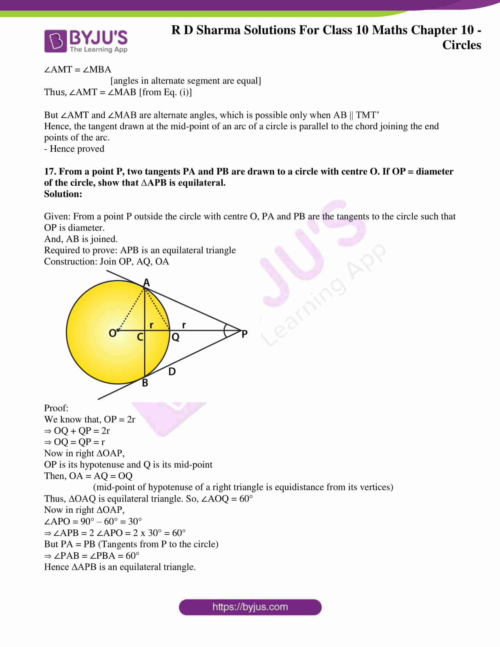 rd sharma class 10 chapter 10 circles solutions exercise 2 12