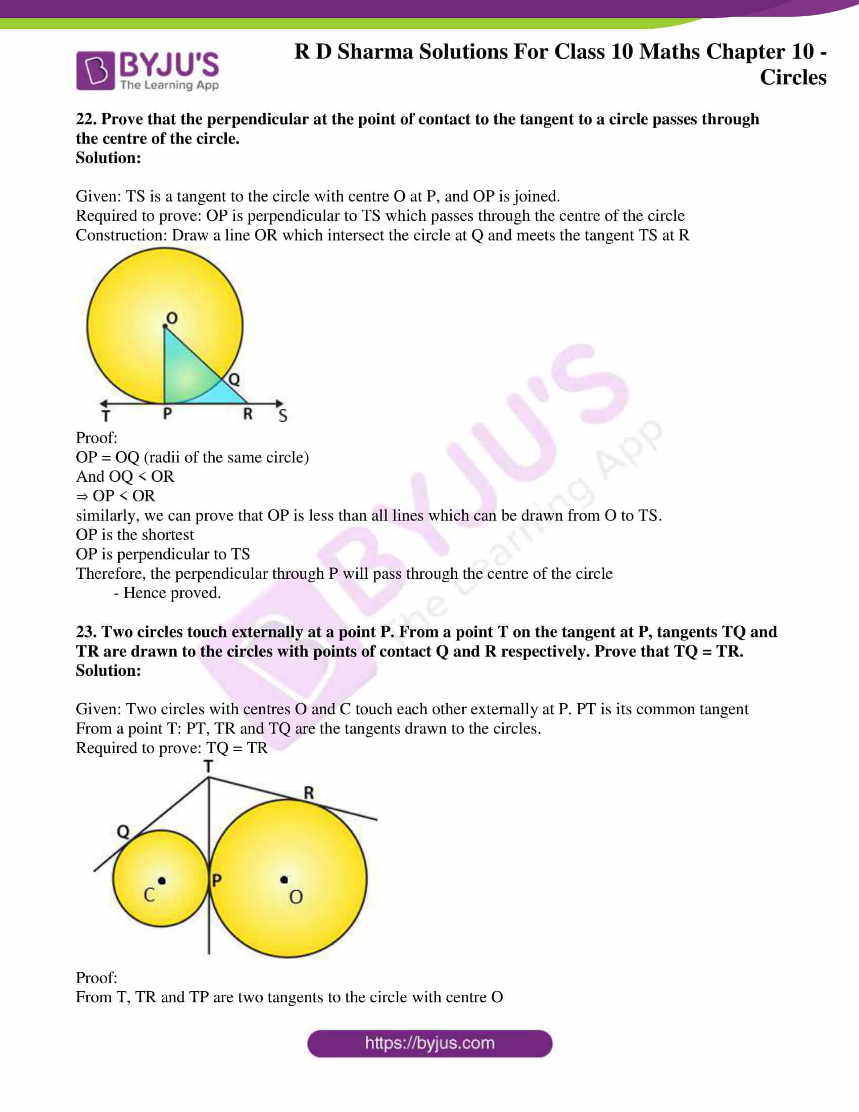 rd sharma class 10 chapter 10 circles solutions exercise 2 16