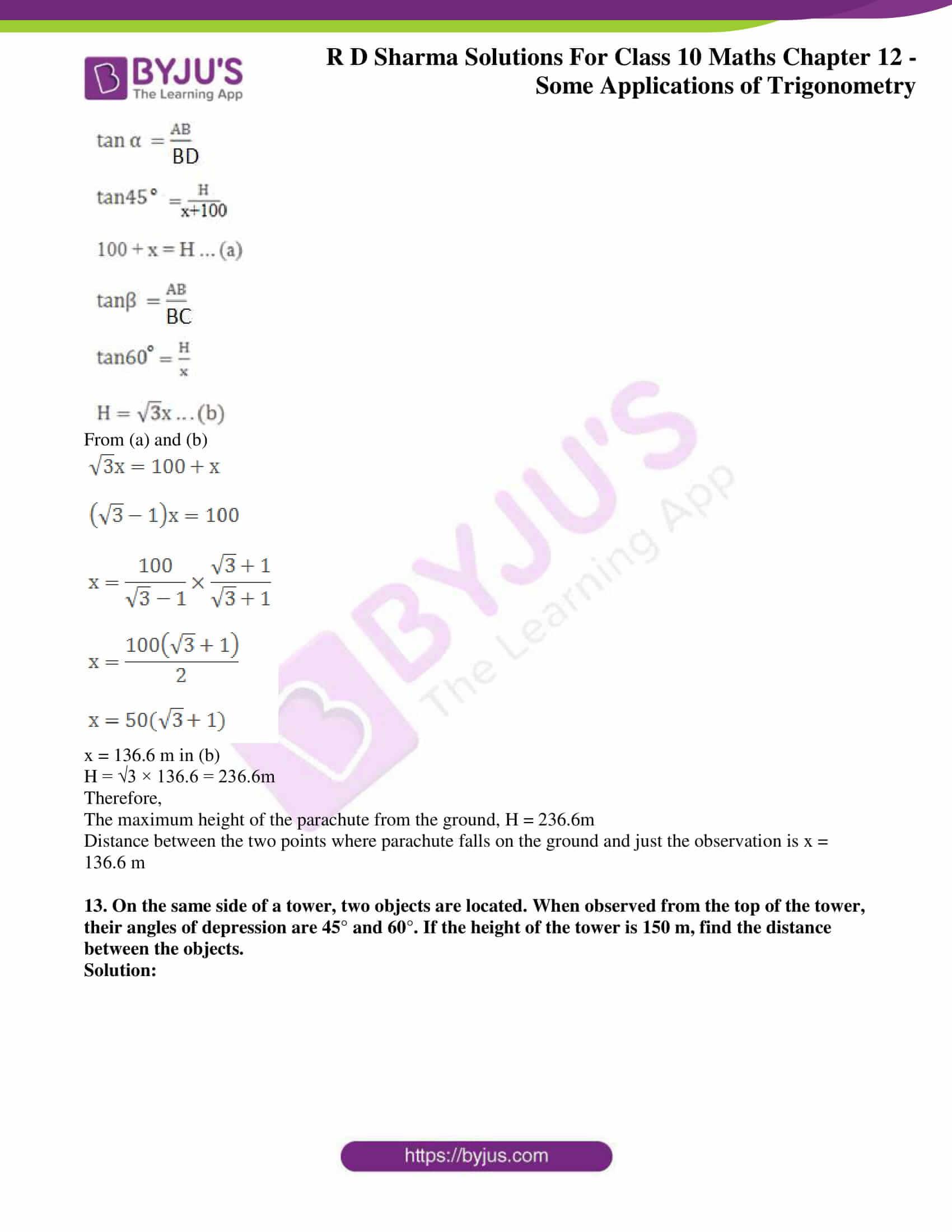 rd sharma class 10 chapter 12 applications trigonometry solutions 11