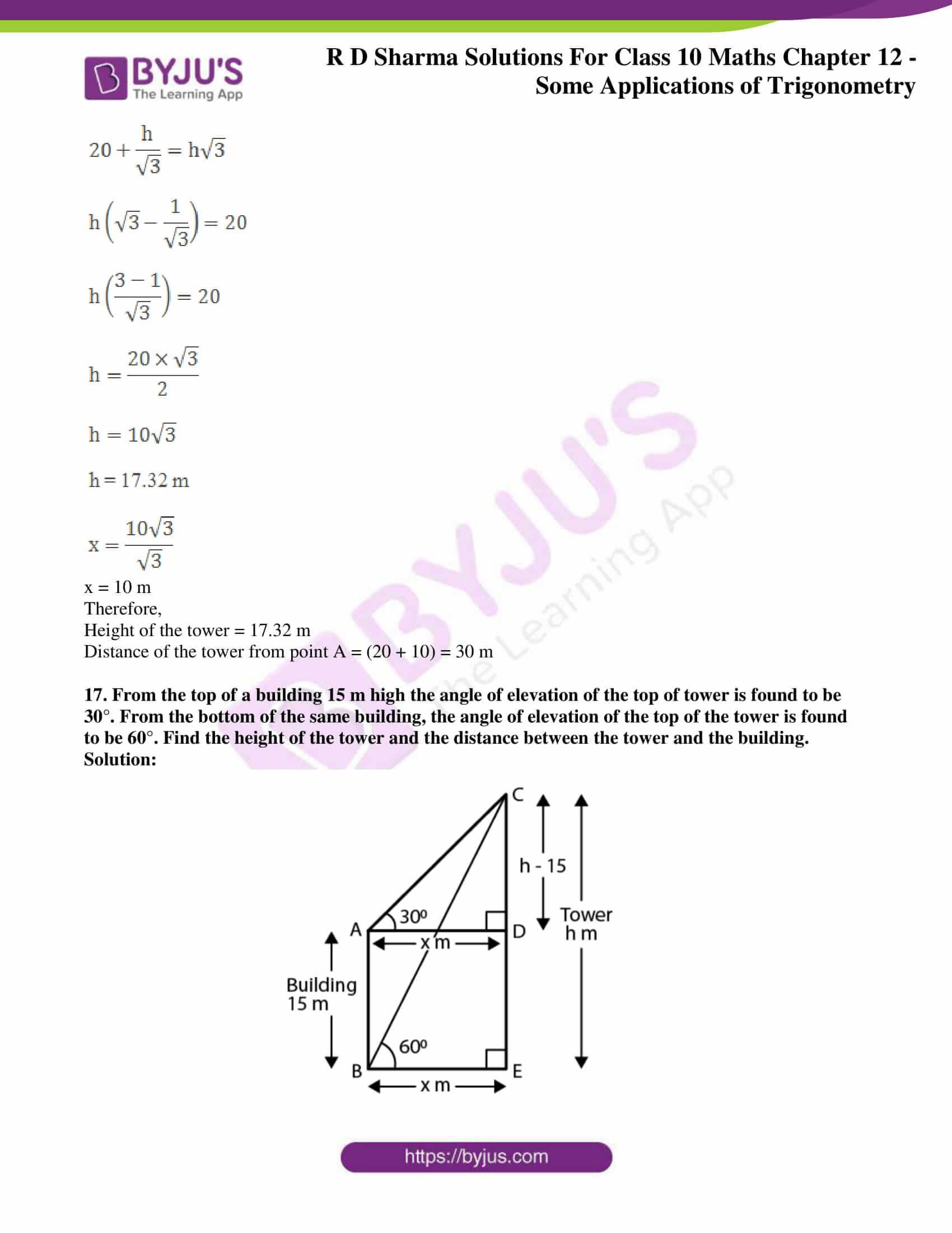 rd sharma class 10 chapter 12 applications trigonometry solutions 16