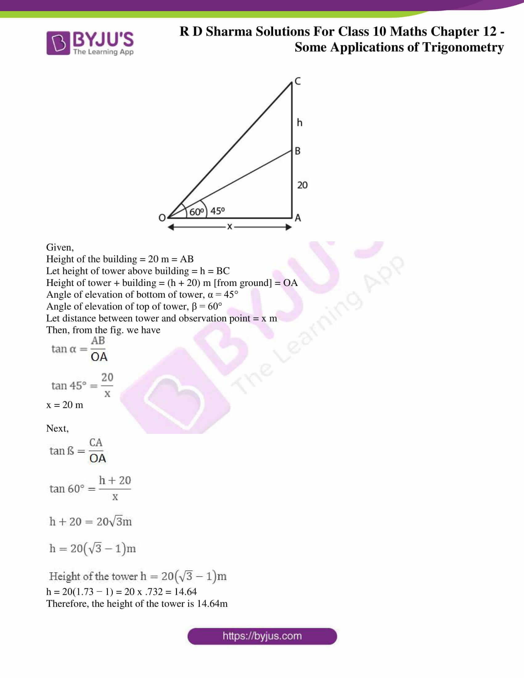 rd sharma class 10 chapter 12 applications trigonometry solutions 23