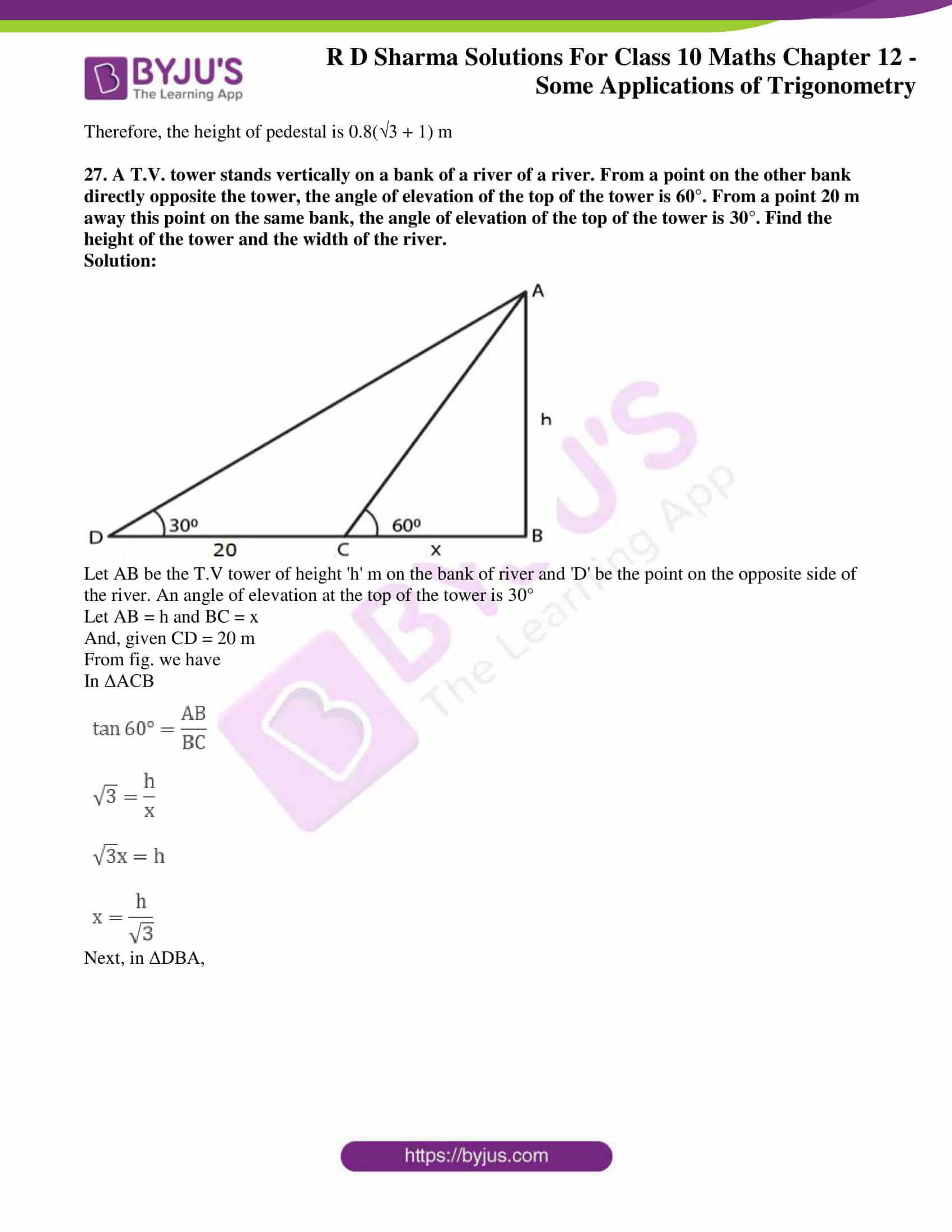 rd sharma class 10 chapter 12 applications trigonometry solutions 26
