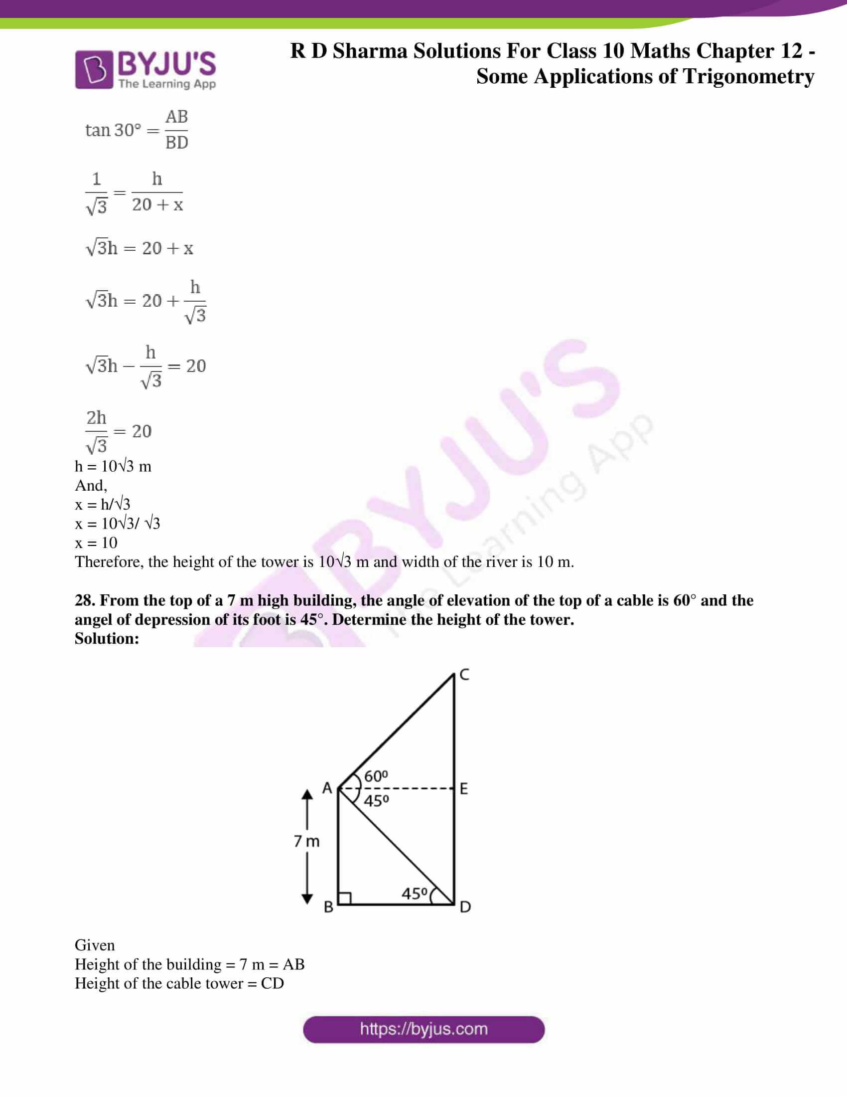 rd sharma class 10 chapter 12 applications trigonometry solutions 27