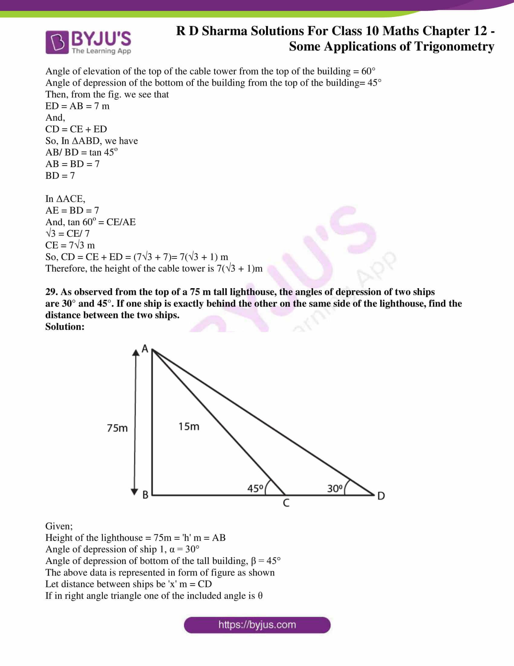rd sharma class 10 chapter 12 applications trigonometry solutions 28