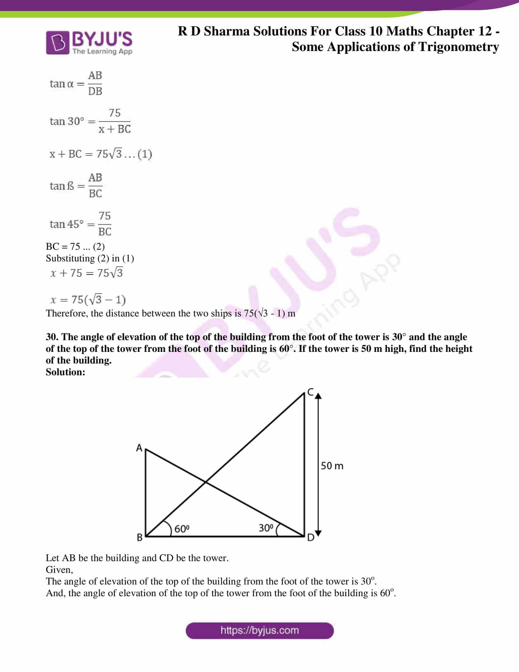 rd sharma class 10 chapter 12 applications trigonometry solutions 29