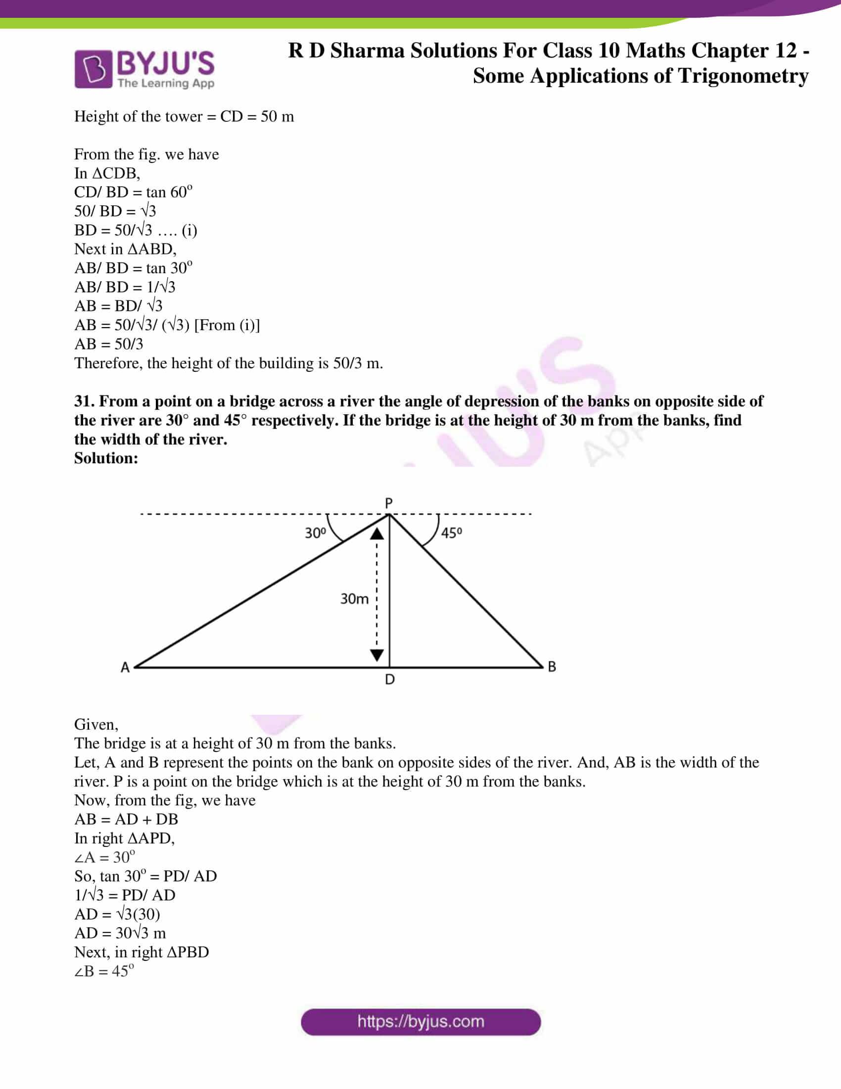 rd sharma class 10 chapter 12 applications trigonometry solutions 30