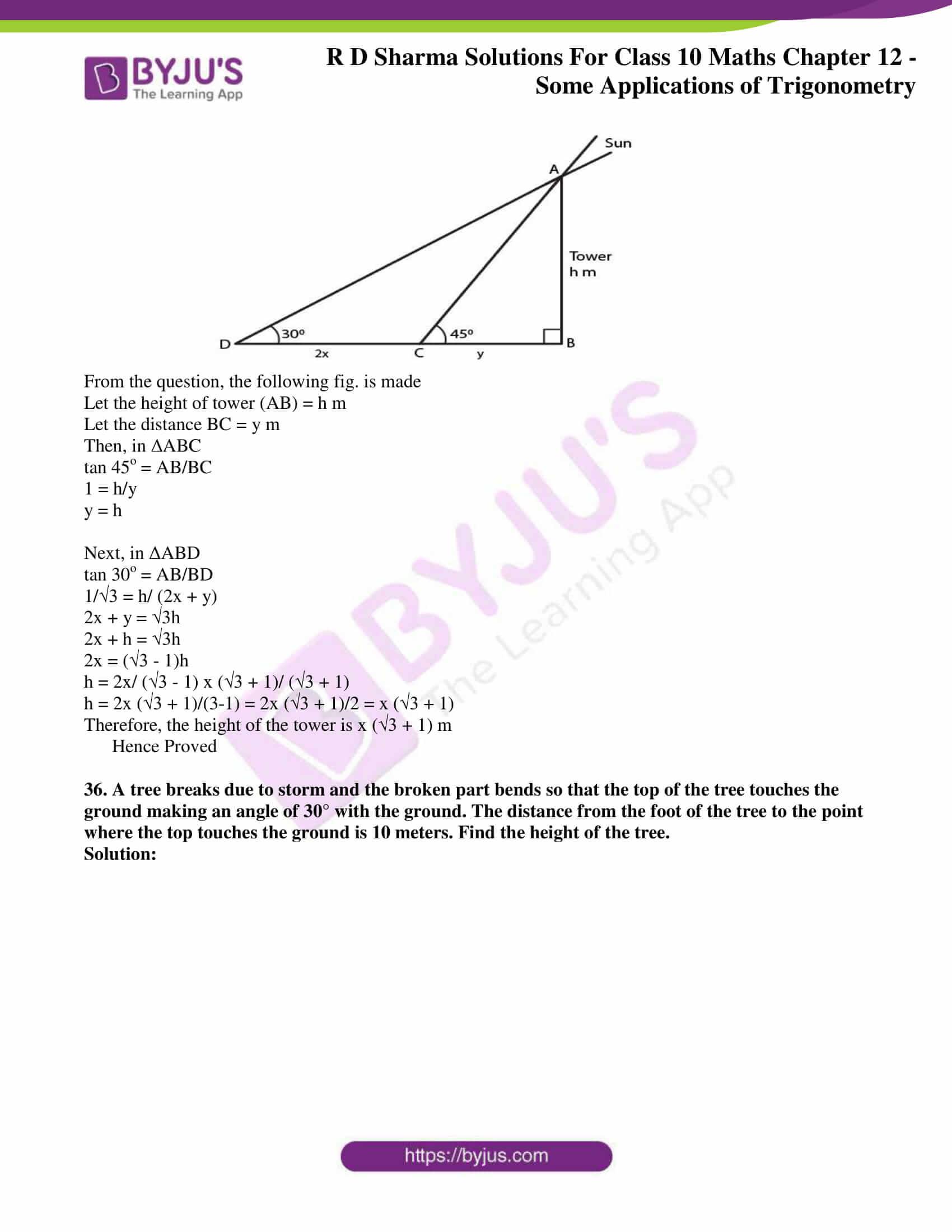 rd sharma class 10 chapter 12 applications trigonometry solutions 34