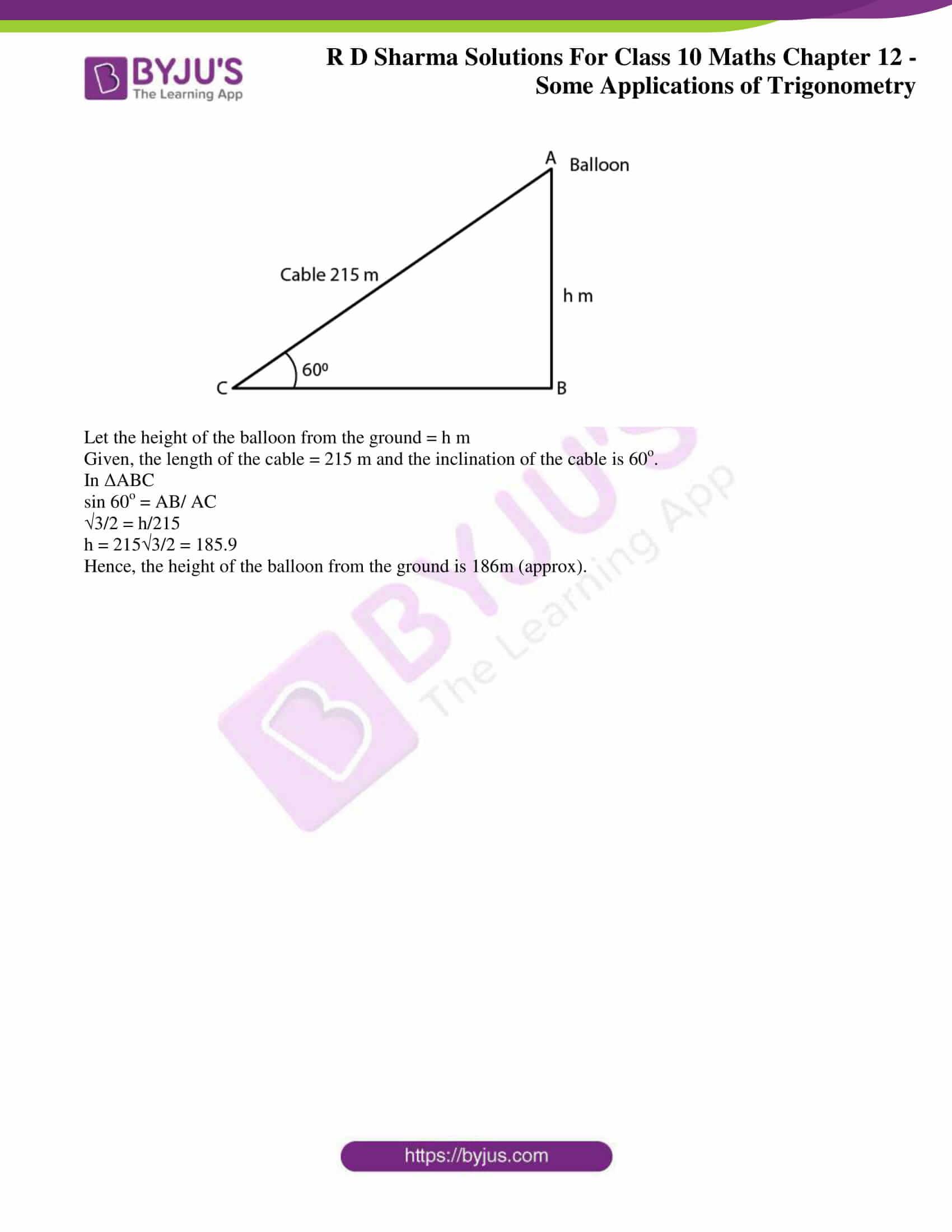 rd sharma class 10 chapter 12 applications trigonometry solutions 36
