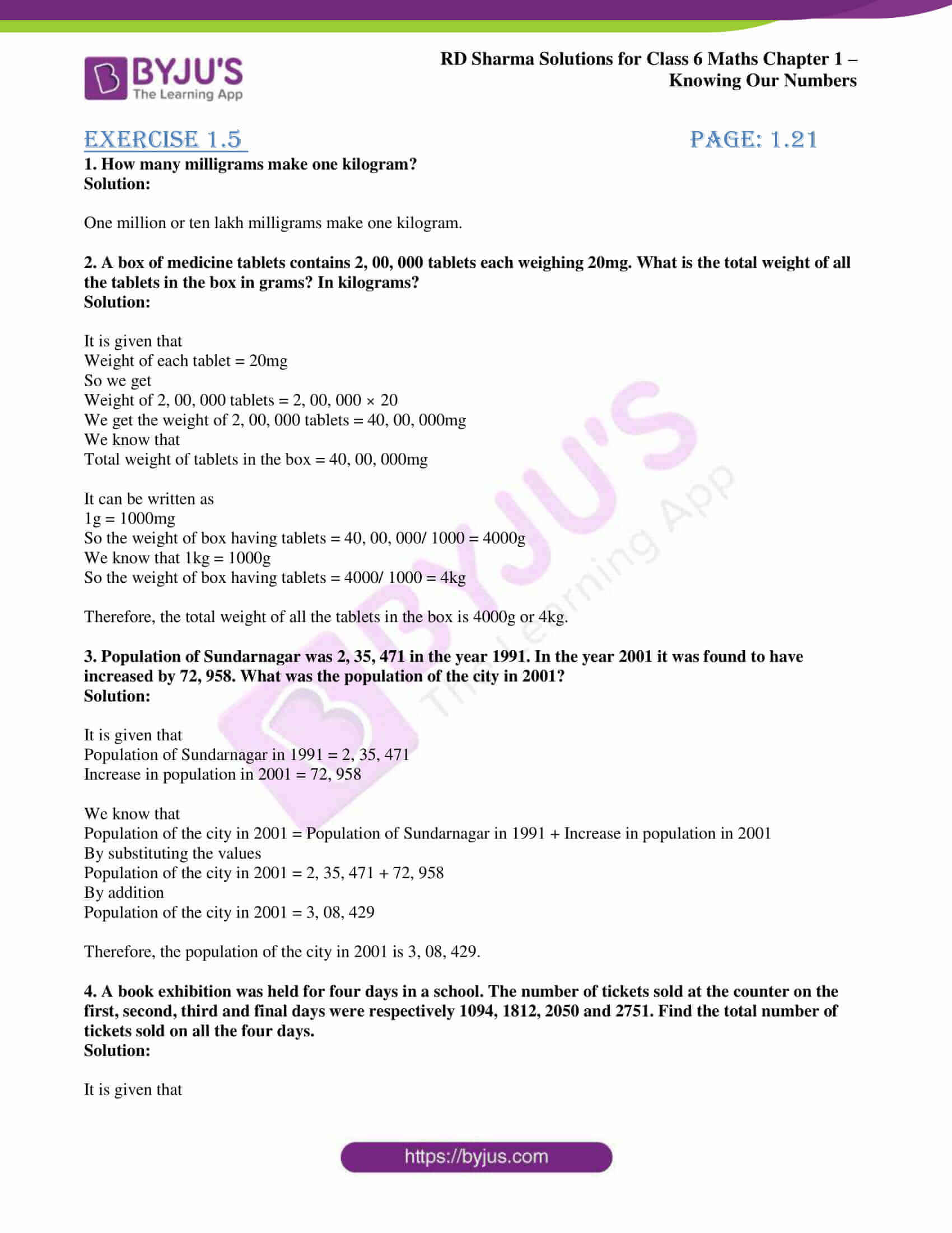 rd sharma class 6 maths solutions chapter 1 ex 5 1