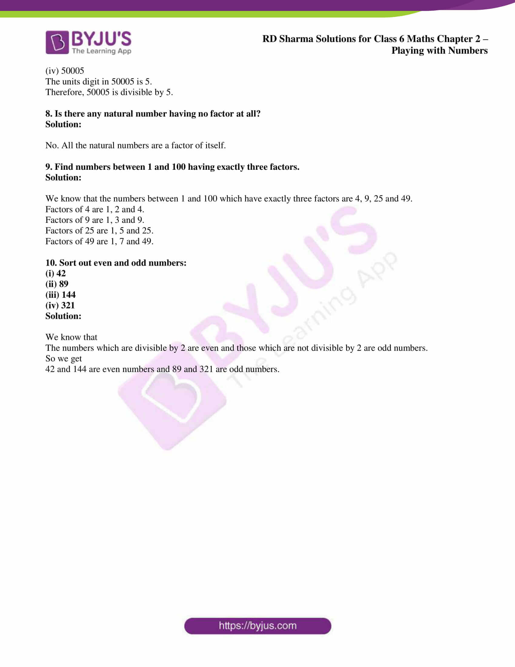 Rd Sharma Solutions For Class 6 Chapter 2 Playing With Numbers Access Pdf For instance, which number can go into 49 without a remainder? class 6 chapter 2 playing with numbers