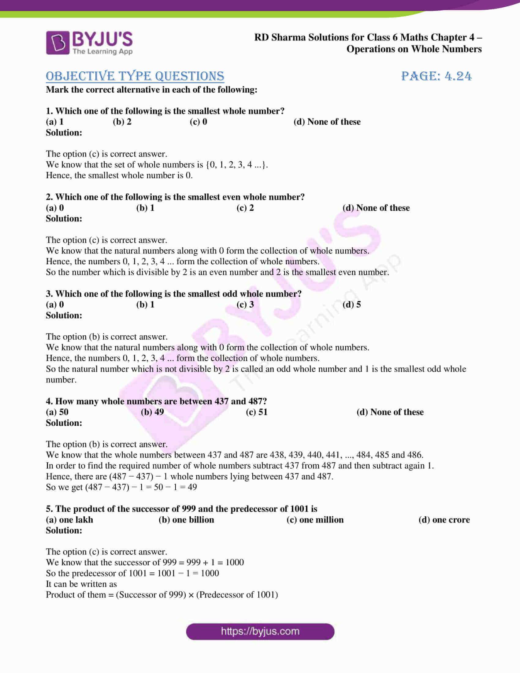 rd sharma class 6 maths solutions chapter 4 obj 1