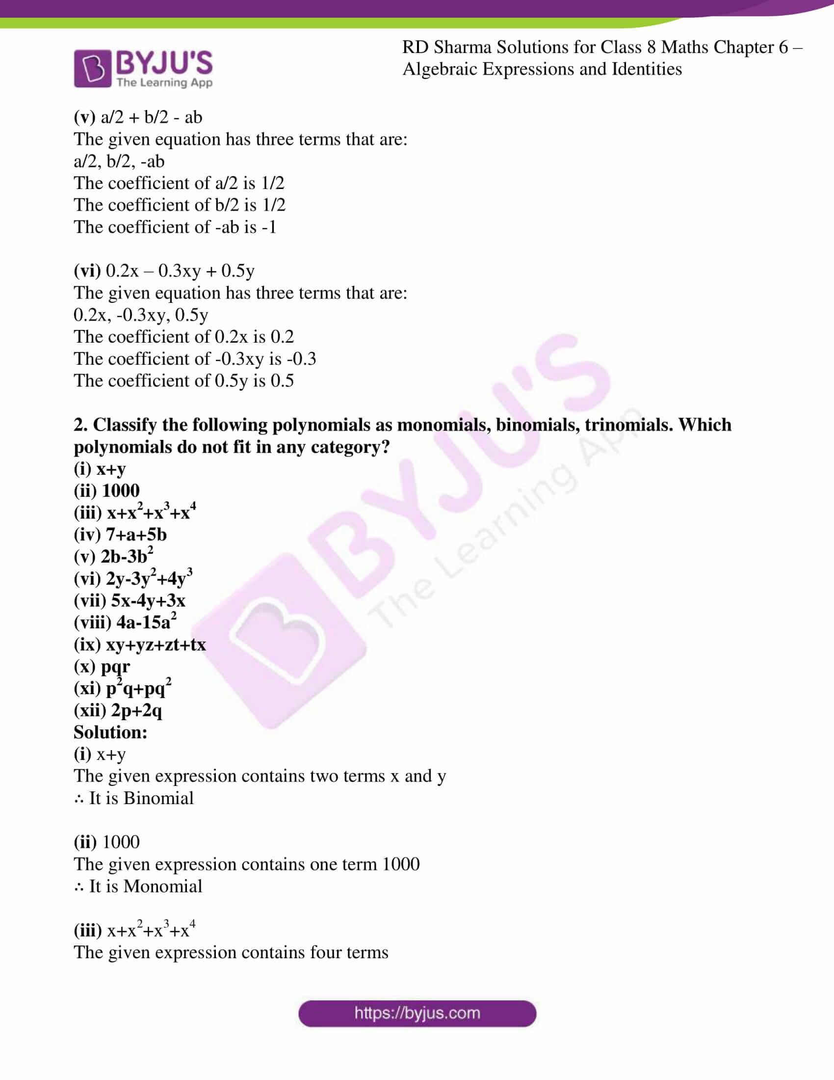 rd sharma class 8 maths chapter 6 exercise 1 2