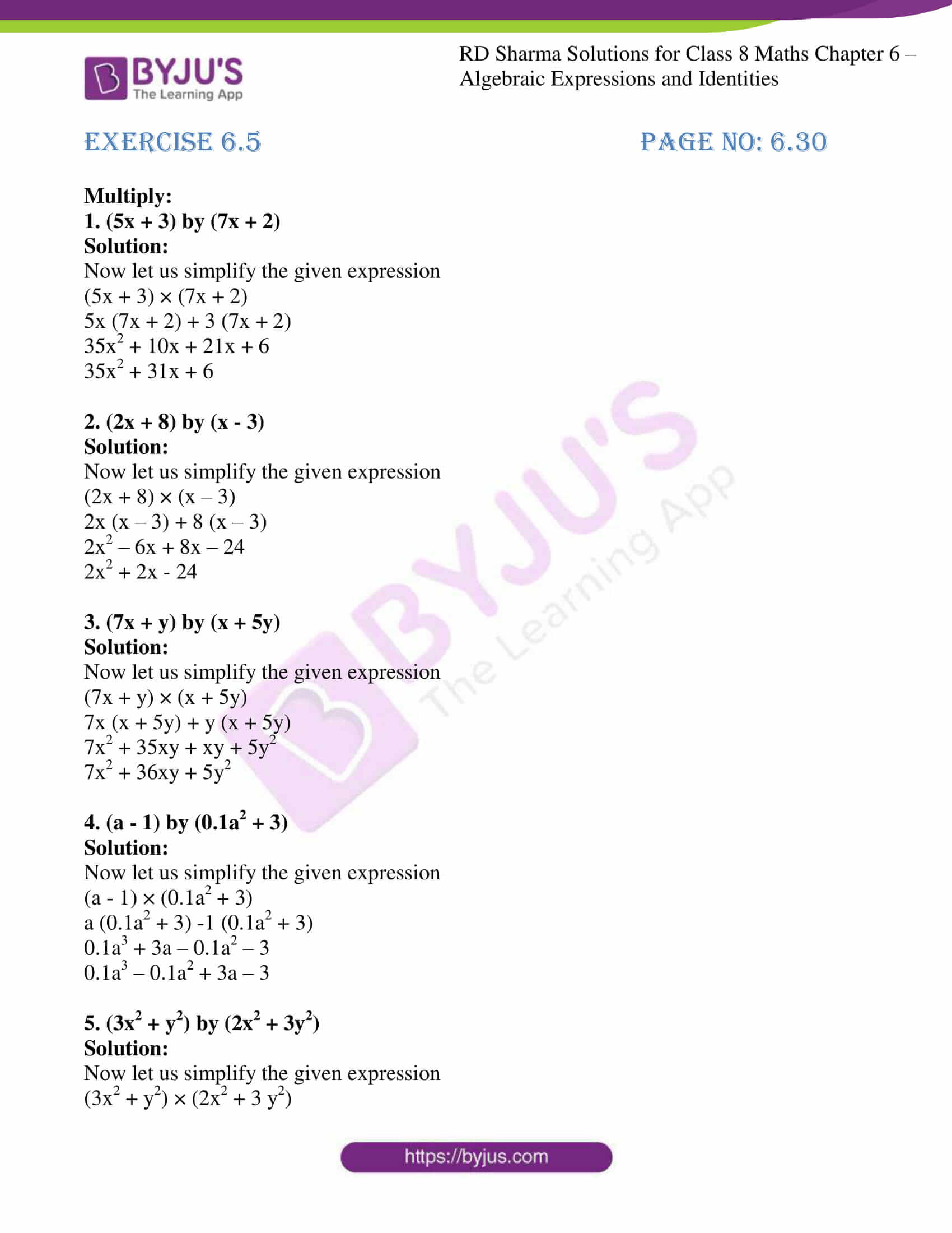 rd sharma class 8 maths chapter 6 exercise 5 1