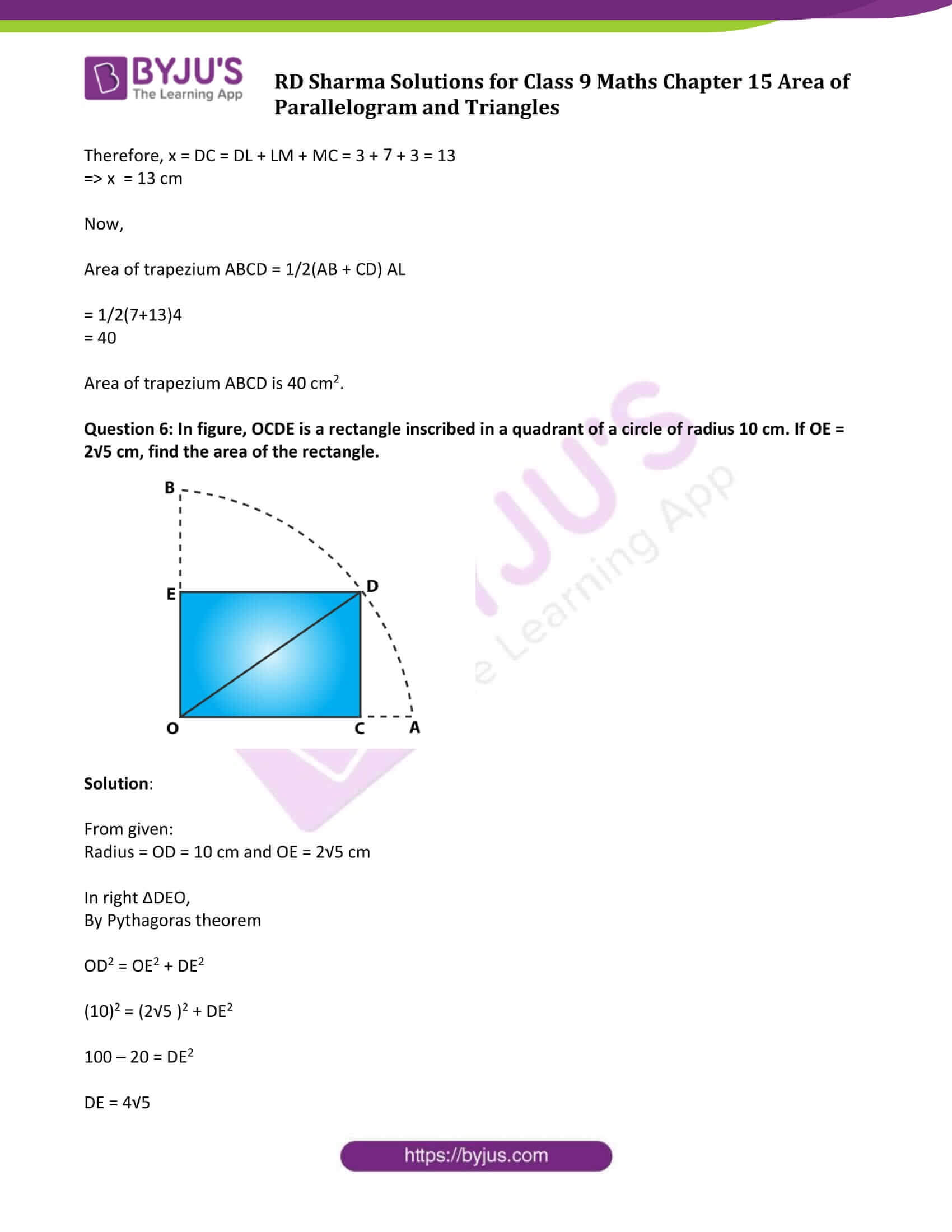 rd sharma solution class 9 maths chapter 15
