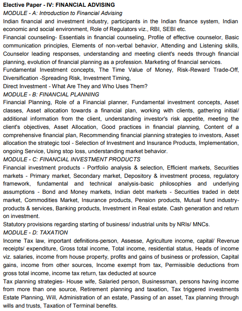 CAIIB Syllabus Elective Paper IV Financial Advising