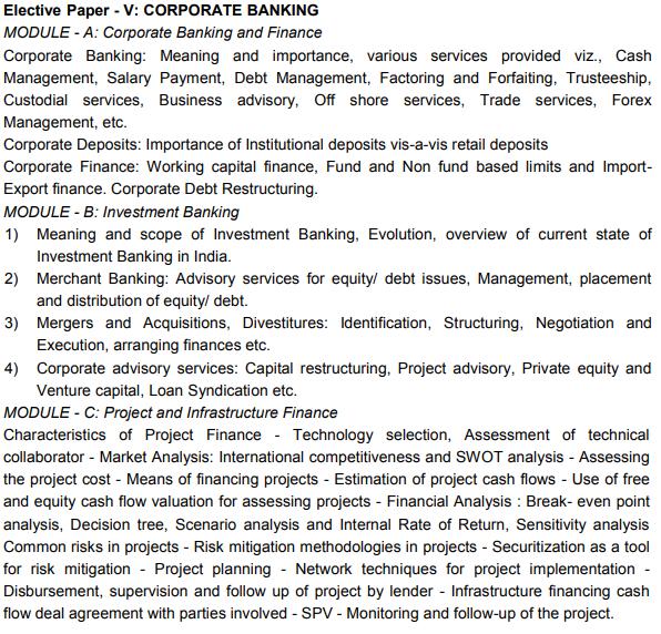 CAIIB Syllabus Elective Paper V Corporate Banking