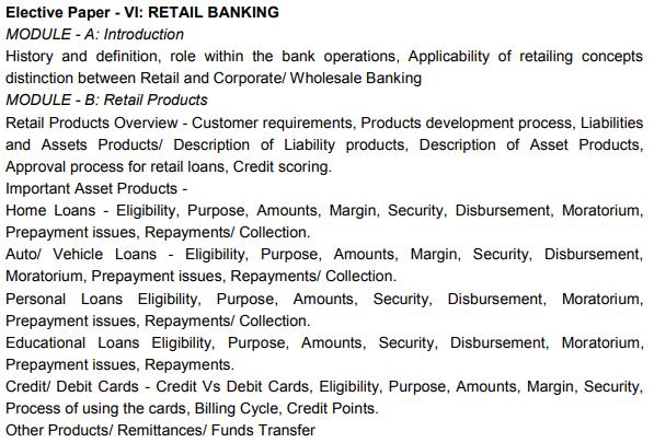 CAIIB Syllabus Elective Paper VI Retail Banking