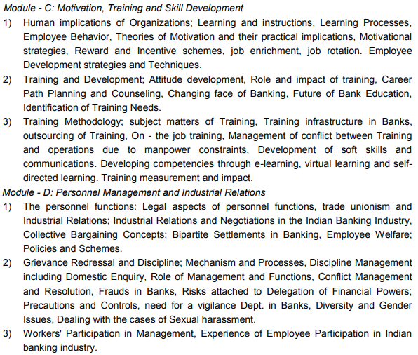 CAIIB Syllabus Elective Paper VIII Human Resource Management