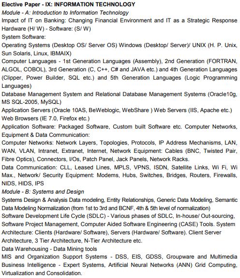 CAIIB Syllabus Elective Paper IX Information Technology
