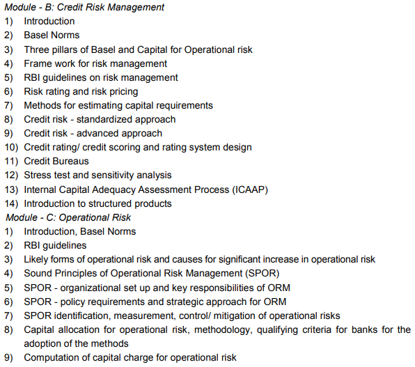 CAIIB Syllabus Elective Paper XI Risk Management