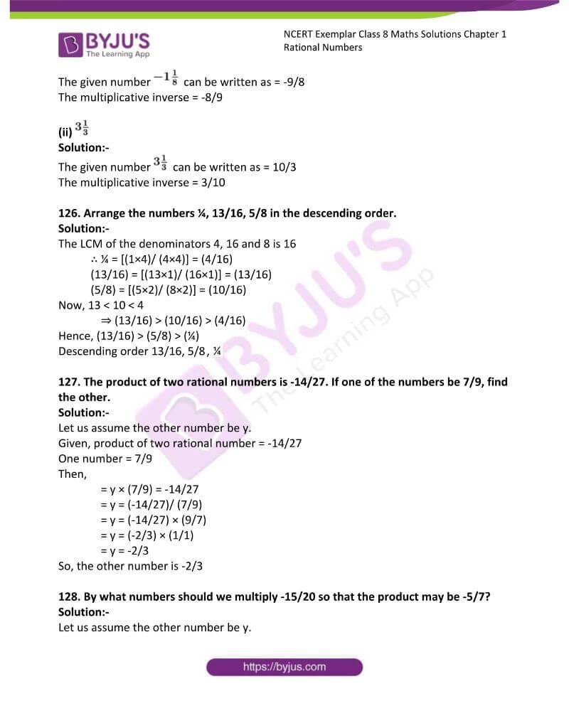 NCERT Exemplar Class 8 Maths Solutions Chapter 1 Rational Numbers 40