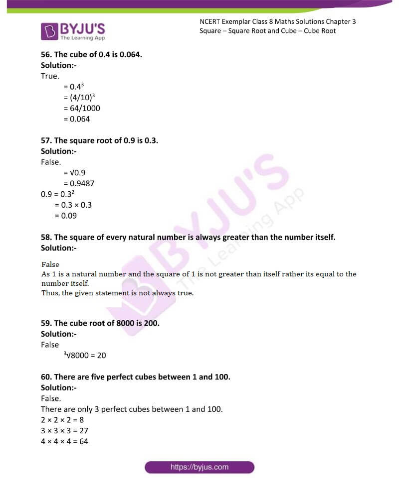 NCERT Exemplar Class 8 Maths Solutions Chapter 3 Square Square Root and Cube Cube Root 11