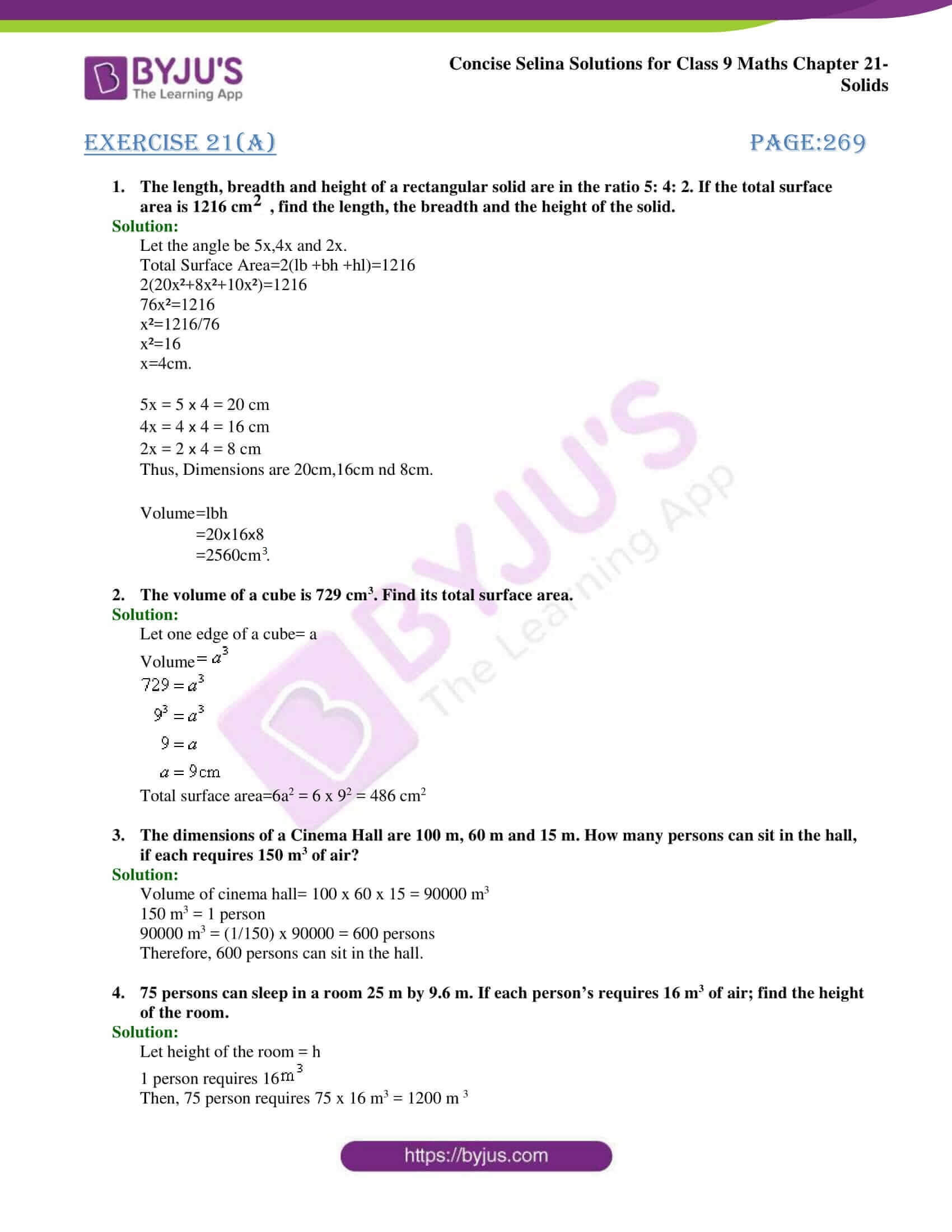 Concise Selina Solutions Class 9 Maths Chapter 21 Solids part 01