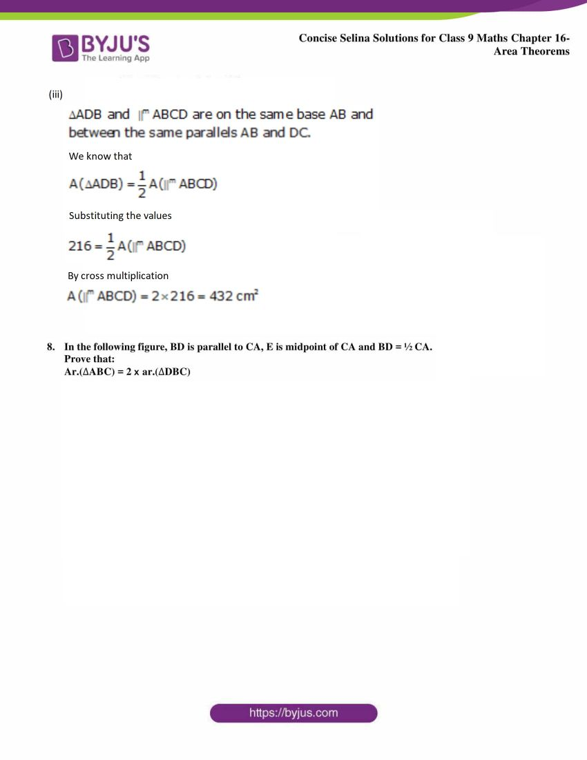 Concise Selina Solutions Class 9 Maths Chapter 16 Area Theorems part 29