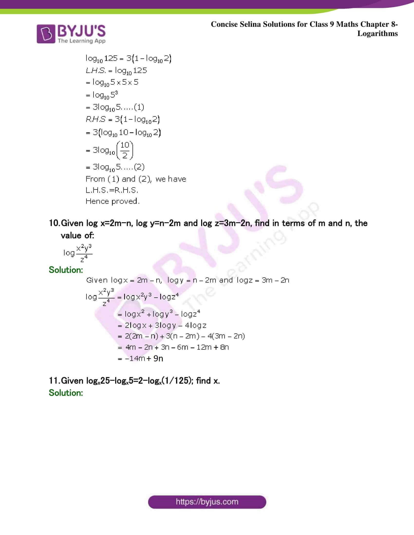 Selina Solutions Class 9 Maths Chapter 8 Logarithms part 36